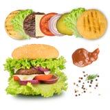 Ingredientes para fazer o hamburguer isolado no branco imagem de stock royalty free
