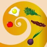 Ingredientes para fazer ovos mexidos ilustração royalty free