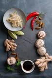 Ingredientes para la comida asiática picante con el insecto frito Fotografía de archivo libre de regalías