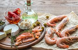 Ingredientes para la dieta mediterránea Fotografía de archivo libre de regalías