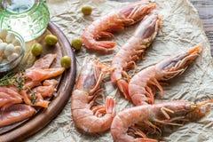 Ingredientes para la dieta mediterránea Foto de archivo libre de regalías
