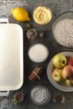 Ingredientes para la empanada de manzana americana para el día de la acción de gracias Fotos de archivo libres de regalías