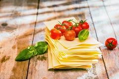 Ingredientes para la lasaña italiana Foto de archivo