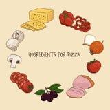 Ingredientes para la pizza Foto de archivo libre de regalías