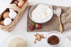 Ingredientes para la torta Imagenes de archivo
