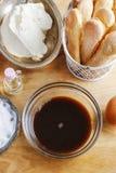 Ingredientes para la torta del tiramisu Imagen de archivo libre de regalías