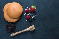 Ingredientes para las crepes Imagen de archivo libre de regalías