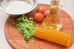 Ingredientes para las crepes del maíz Fotografía de archivo libre de regalías