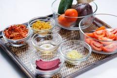 Ingredientes para las sacudidas vegetales sanas de la bebida Foto de archivo