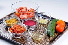 Ingredientes para las sacudidas vegetales sanas de la bebida Imagen de archivo