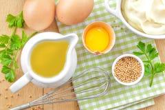 Ingredientes para a maionese imagens de stock royalty free