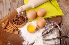 Ingredientes para a massa de pão Foto de Stock
