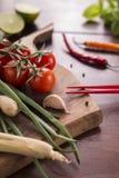 Ingredientes para o alimento tailandês, nardo, gengibre, alho, cocktail Fotografia de Stock Royalty Free