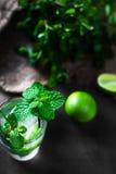 Ingredientes para o cal do mojito, folhas de hortelã, gelo Vidro frio da bebida Foto de Stock Royalty Free
