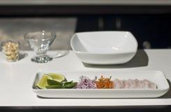 Ingredientes para o ceviche peruano Imagem de Stock