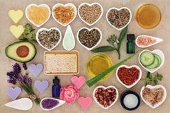 Ingredientes para o cuidado da pele e do corpo Fotos de Stock