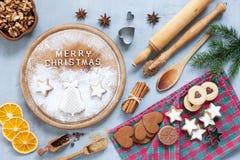Ingredientes para o Natal e o Advent Baking, pão-de-espécie fotografia de stock royalty free