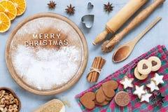 Ingredientes para o Natal e o Advent Baking, pão-de-espécie imagens de stock