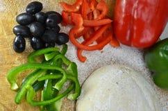 Ingredientes para a pizza Imagens de Stock