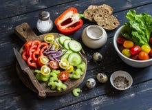 Ingredientes para preparar a salada vegetal - tomates, pepino, aipo, pimenta de sino, cebola vermelha, ovos de codorniz, ervas do Fotografia de Stock Royalty Free