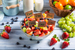 Ingredientes para a salada de fruto sem preservativos Fotos de Stock