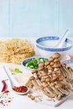 Ingredientes para a sopa asiática dos ramen Imagem de Stock