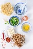 Ingredientes para a sopa asiática dos ramen Fotografia de Stock Royalty Free