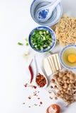 Ingredientes para a sopa asiática dos ramen Fotografia de Stock
