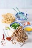 Ingredientes para a sopa asiática dos ramen Foto de Stock