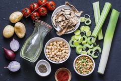 Ingredientes para a sopa da desintoxicação - caldo na garrafa, aipo, grãos-de-bico, alho-porros, tomates, cebolas vermelhas, espe Imagens de Stock Royalty Free