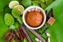 Ingredientes para a sopa tailandesa picante Tom Yam com pimenta de pimentão e le Fotos de Stock