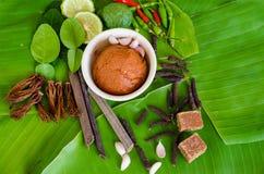 Ingredientes para a sopa tailandesa picante Tom Yam com pimenta de pimentão e le Foto de Stock