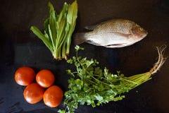 Ingredientes peixes, tomate e coentro imagem de stock royalty free