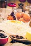 Ingredientes preparados para el pan de jengibre de la Navidad Fotografía de archivo libre de regalías