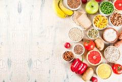Ingredientes sanos de los carbohidratos fotografía de archivo