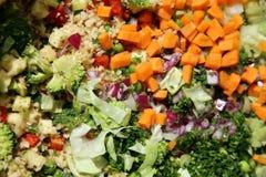 Ingredientes saudáveis coloridos da salada na tabela como um fundo Imagens de Stock Royalty Free