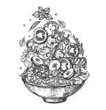 Ingredientes saudáveis da salada do voo vertical no prato ilustração stock
