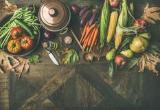 Ingredientes saudáveis do outono para o jantar do dia da ação de graças, espaço da cópia Imagens de Stock Royalty Free