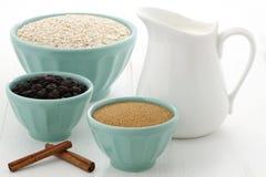 Ingredientes saudáveis e deliciosos da farinha de aveia Fotos de Stock Royalty Free
