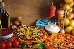 Ingredientes tradicionais da pizza imagem de stock royalty free