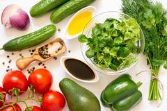 Ingredientes vegetales sanos de la ensalada Foto de archivo