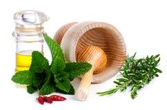 Ingredientes y especia para el alimento fotografía de archivo