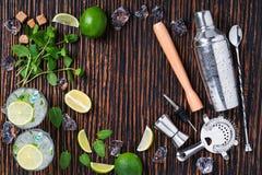 Ingredientes y preparación de los cócteles del mojito Imagen de archivo