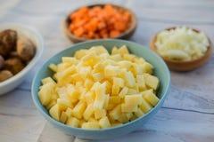 Ingredienti affettati pronti a cucinare una minestra saporita immagini stock
