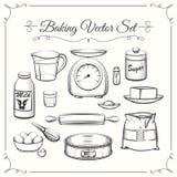 Ingredienti alimentari di cottura e strumenti della cucina a disposizione Immagine Stock
