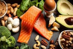 Ingredienti alimentari di dieta del cheto immagini stock