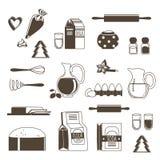 Ingredienti alimentari per cuocere e cucinare Isolato monocromatico dell'illustrazione di vettore su bianco illustrazione di stock