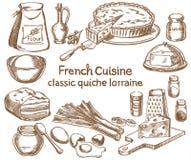 Ingredienti classici di quiche lorraine illustrazione di stock