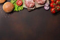 Ingredienti cotoletta, pomodori, lattuga, panino, formaggio, cetrioli e cipolla crudi dell'hamburger su fondo arrugginito immagine stock libera da diritti