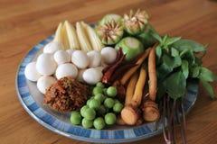 Ingredienti crudi con molti generi di erbe per curry caldo e piccante vegetariano o il curry della giungla Ricetta sana tailandes immagine stock
